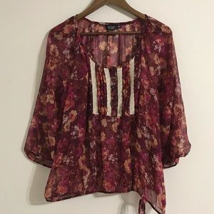 A.n.a. Sheer Lace Peasant Blouse Plus Size 2X